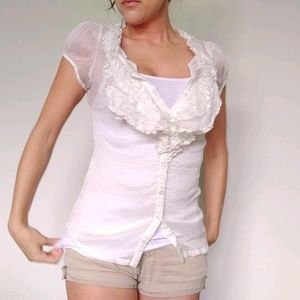 Sheer Off-White Ruffled Collar Short Sleeve Blouse